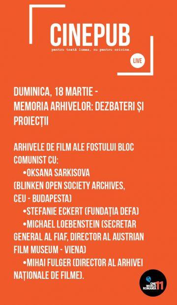 CINEPUB LIVE - Memoria Arhivelor - Dezbateri si proiectii - web